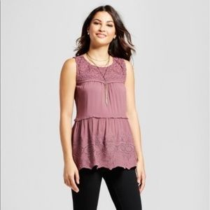 Knox Rose Lace Yoke Scallop Hem Tank Top XS Mauve